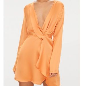 Pretty Little Thing Tangerine Satin Wrap Dress